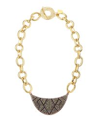 Devon Leigh | Metallic Pewter Crystal Wedge Pendant Necklace | Lyst
