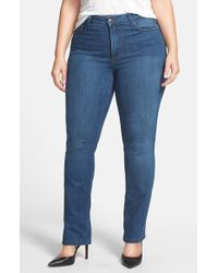 NYDJ | Blue 'hayley' Stretch Straight Leg Jeans | Lyst