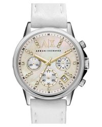 Armani Exchange - White Crystal Index Chronograph Leather Strap Watch - Lyst