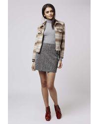 TOPSHOP - Gray Tall Herringbone A-line Skirt - Lyst