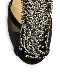 Jimmy Choo Black Fortune Suede Beaded T-Strap Sandals