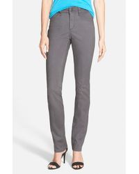 NYDJ | Gray 'Samantha' Stretch Slim Straight Leg Jeans | Lyst