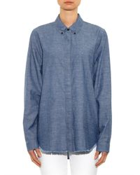 Proenza Schouler - Blue Point-Collar Chambray Shirt - Lyst
