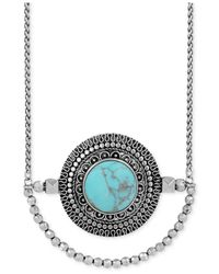 Lucky Brand Blue Silver-tone Reconstituted Turquoise Pendant Necklace