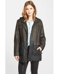 MICHAEL Michael Kors Green Two Tone Waxed Cotton Anorak