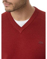 Lacoste | Red V Neck Sweater for Men | Lyst