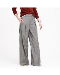J.Crew Gray Wide-leg Pant In Glen Plaid Wool