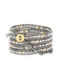 Chan Luu | Metallic Bead And Leather 5-wrap Bracelet | Lyst