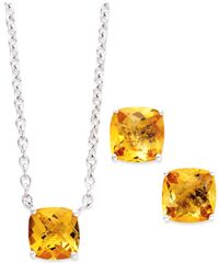 Macy's Metallic Sterling Silver Jewelry Set, Cushion-Cut Citrine Earrings And Pendant (5 Ct. T.W.)