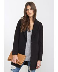 Forever 21 | Black Peak Lapel Overcoat | Lyst