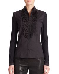 Akris Punto - Black Petal-appliquéd Poplin & Jersey Shirt - Lyst