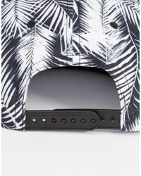 ASOS   Black Snapback Cap With Leaf Print for Men   Lyst