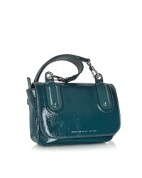 Marc By Marc Jacobs Blue Ball  Chain Hopper Green Leather Crossbody Bag
