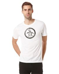 Original Penguin | White Distressed Circle Logo Graphic T-shirt for Men | Lyst