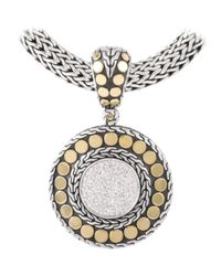 John Hardy | Metallic Dot Diamond Pav Medium Round Pendant | Lyst