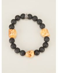 King Baby Studio - Black Beaded Skull Charm Bracelet - Lyst