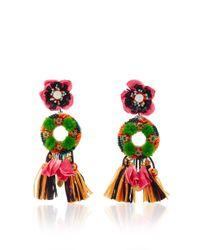 Ranjana Khan | Green Fringed Floral Drop Earrings | Lyst