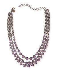 Sequin - Metallic Katharine Triple-Strand Crystal Necklace - Lyst