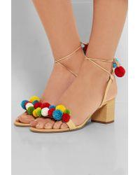 Aquazzura Natural Pompom-embellished Raffia Sandals