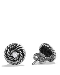 David Yurman | Metallic Cable Coil Earrings With Diamonds | Lyst