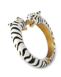 Kenneth Jay Lane | Black And White Enamel Tiger Bracelet | Lyst