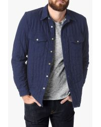 7 For All Mankind | Blue Quilted Denim Shirt Jacket In Indigo for Men | Lyst