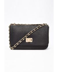 Forever 21 - Black Structured Faux Leather Crossbody - Lyst