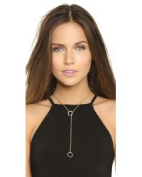 Rebecca Minkoff Metallic Gem Hex Crystal Lariat Necklace - Gold/crystal