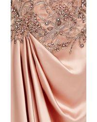 Marchesa Pink Silk Satin Draped Gown