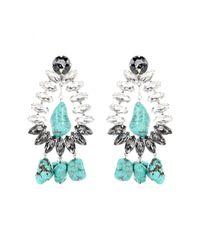 By Malene Birger | Blue Braicca Crystalembellished Turquoise Clipon Earrings | Lyst