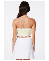 Missguided - Beatie Green Cross Back Strappy Lace Bralet - Lyst