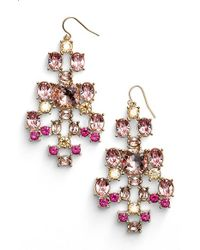 St. John | Pink Swarovski Crystal French Wire Earrings | Lyst