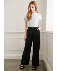 Forever 21 | Black Wide-leg Linen Pants You've Been Added To The Waitlist | Lyst