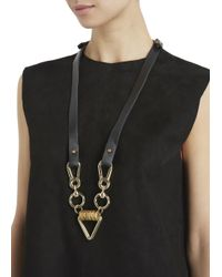 Moxham | Arrow Black Leather And Gold Plated Chain Necklace | Lyst