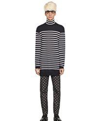 Andrea Pompilio Blue Striped Wool Turtleneck Sweater for men