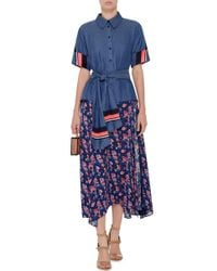Tanya Taylor - Multicolor Navy Silk Wixson Skirt - Lyst