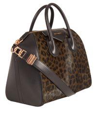 Givenchy Multicolor Medium Khaki Leopard Print Antigona Tote Bag