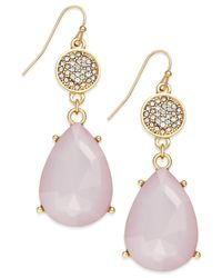 INC International Concepts - Gold-tone Pink Stone Pavé Double Drop Earrings - Lyst