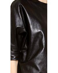 Alexander Wang Black Leather Dolman Sleeve Dress