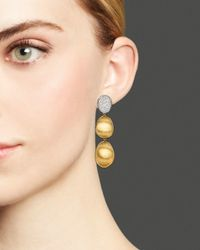 Marco Bicego - Metallic Diamond Lunaria Three Drop Small Earrings In 18k Gold - Lyst