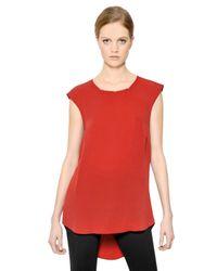 MICHAEL Michael Kors Red Sleeveless Silk Long Top