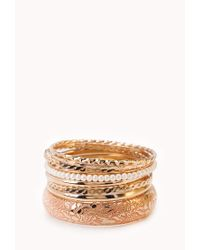 Forever 21 | Pink Painted Pearlescent Bangle Set | Lyst
