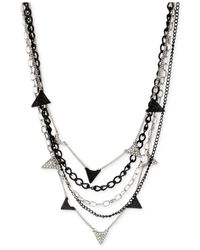 Steve Madden - Silver-Tone Black Chain Pavé Triangle Necklace - Lyst
