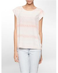 Calvin Klein - Natural Jeans Rain Drop Print Cap Sleeve Top - Lyst