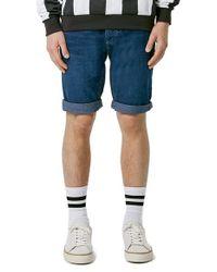 TOPMAN - Blue Slim Fit Denim Shorts for Men - Lyst
