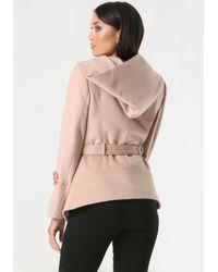 Bebe Pink Asymmetric Zip Hooded Coat