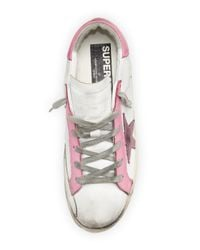 Golden Goose Deluxe Brand - Pink Star-embellished Leather Sneaker - Lyst