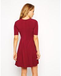 ASOS - Red Skater Dress With Pleat Detail Skirt - Lyst