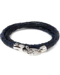 Miansai | Navy Blue Brummel Leather Silver Bracelet for Men | Lyst