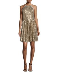 Badgley Mischka | Metallic Embellished Halterneck Dress  | Lyst